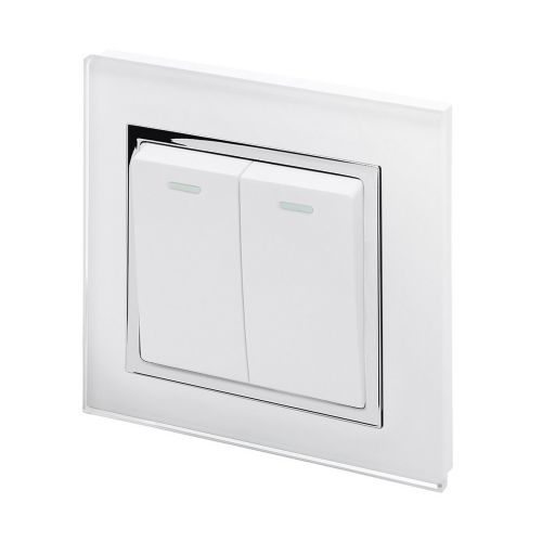 RetroTouch 2 Gang Intermediate 10A Rocker Light Switch White Glass CT 00212